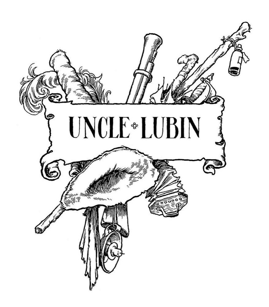 Half-title drawing for The Adventures of Uncle Lubin - pen and ink
