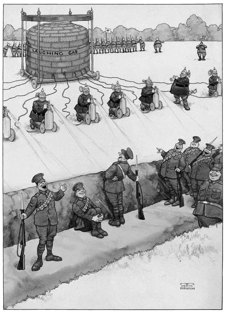 German breaches of the Hague Convention - Huns using siphons of laughing gas to overcome our troops before an attack in close formation. - pen