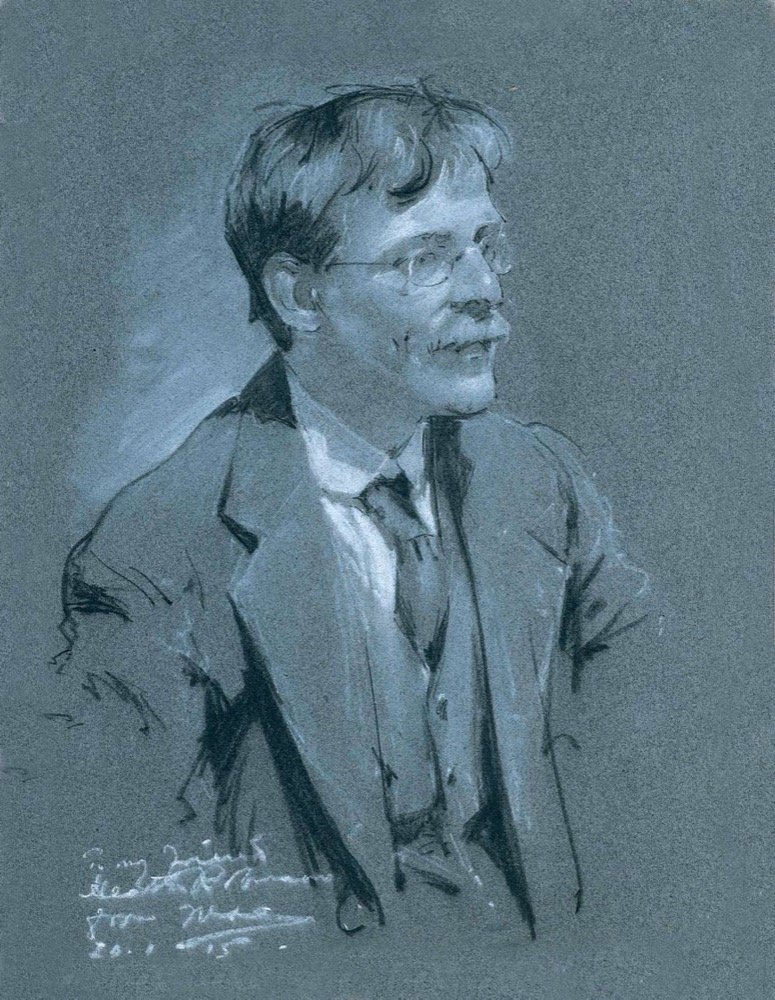 Portrait of WHR in charcoal & chalk